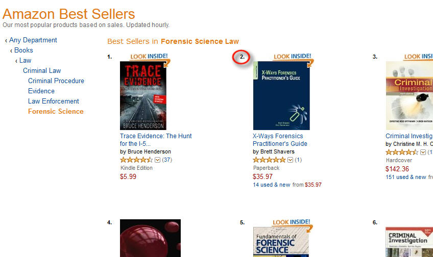 XWF Guide as #2 best seller (in Forensic Science) on Amazon